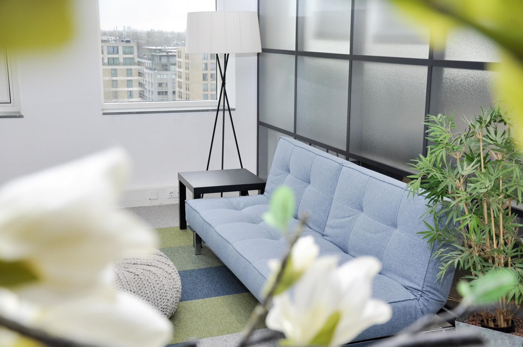 blue couch with nice light and flowers in front