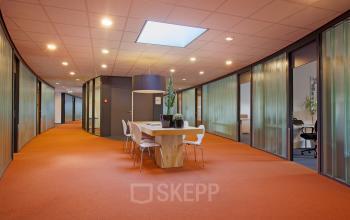 orange floor office space open space