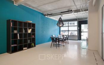 blue wall office space closet light