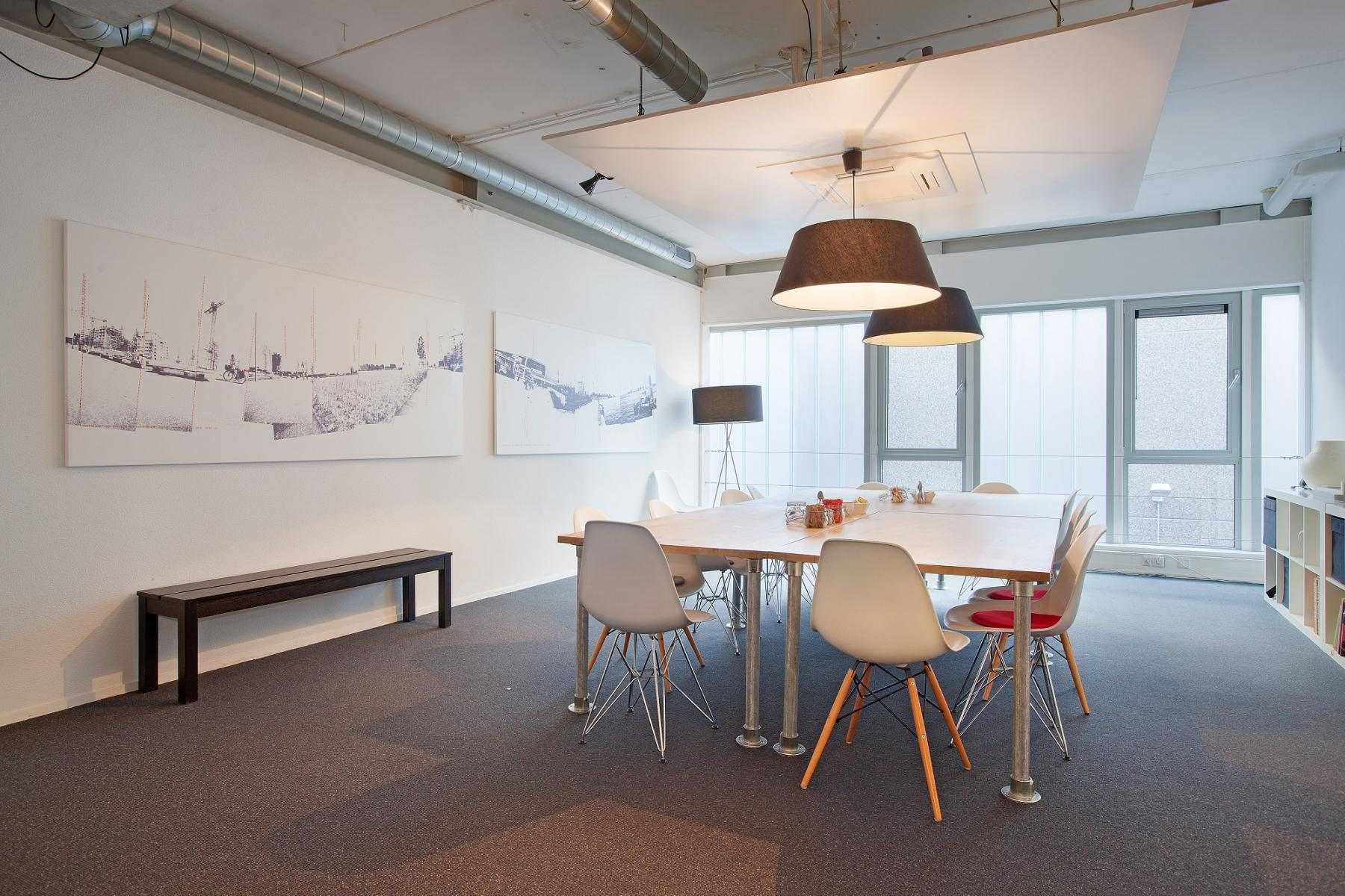office space white table and chairs