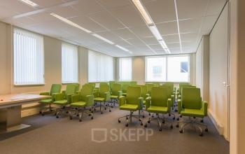 meeting room for rent green chairs windows