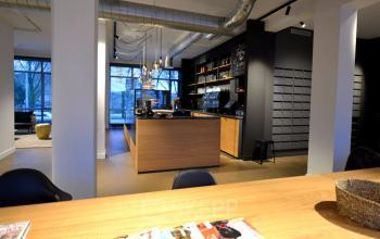 Shared office room with reception desk
