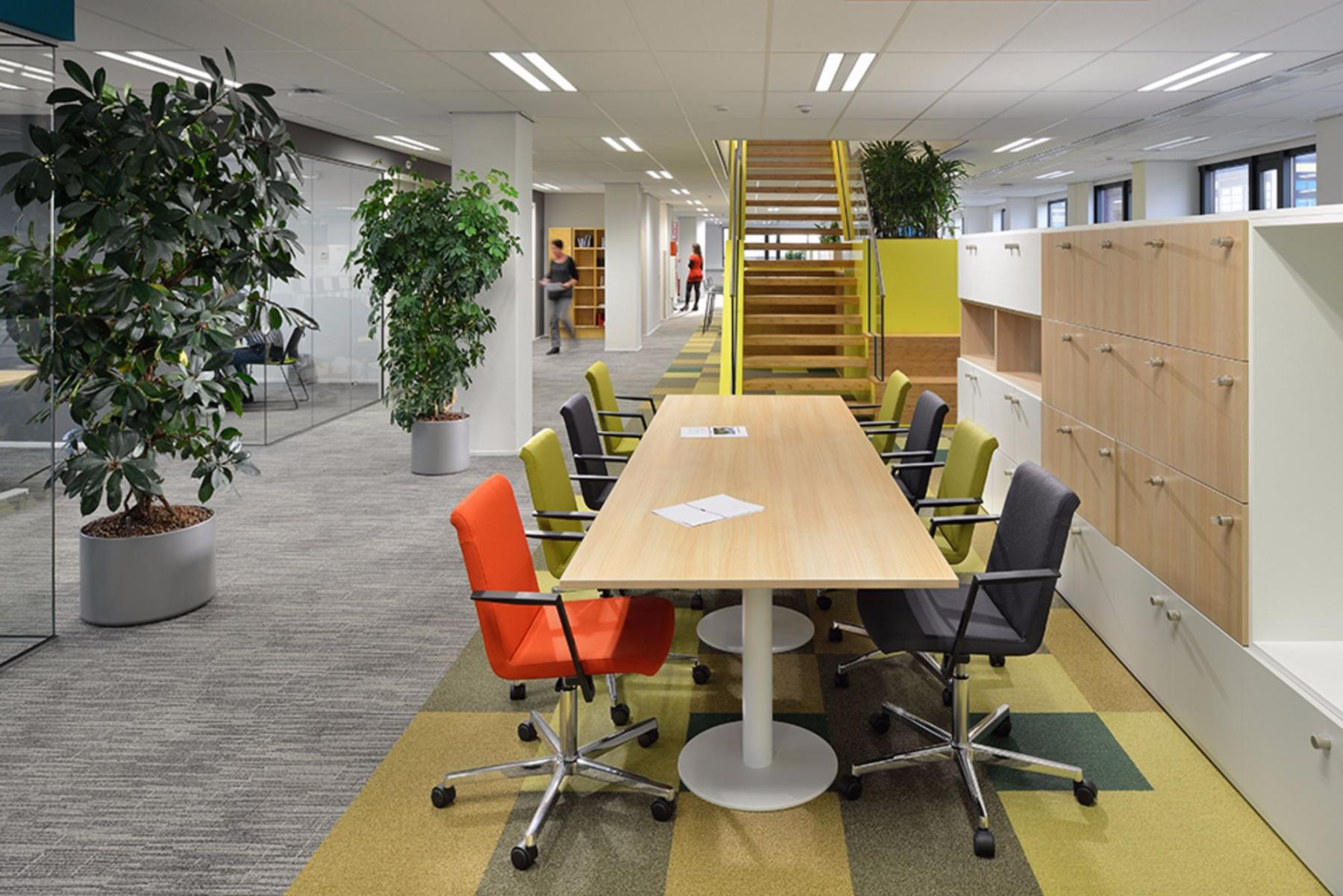 Working places with coloured chairs