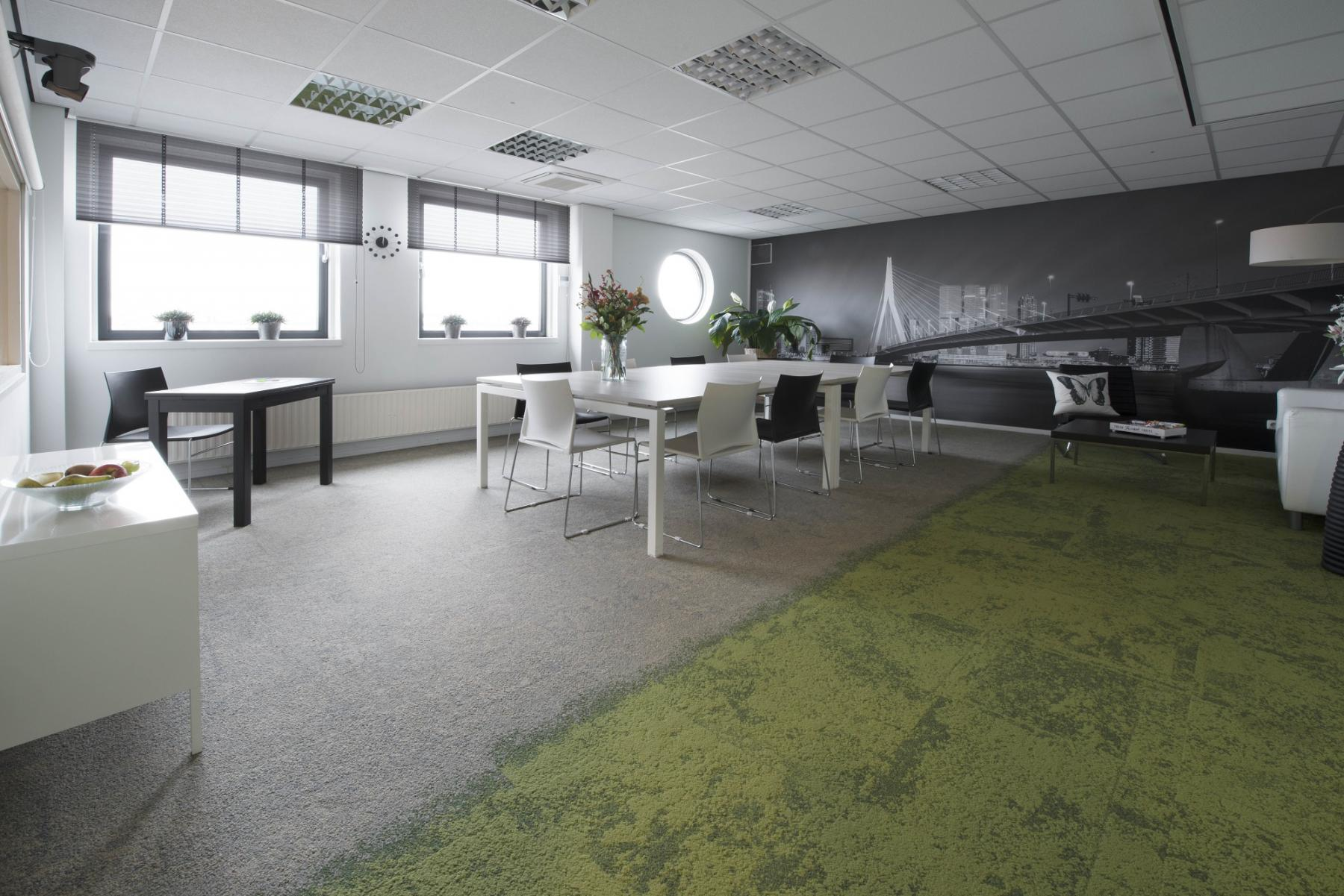 big office room green floor for rent