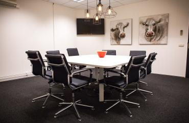 meeting room black chairs paintings cow television