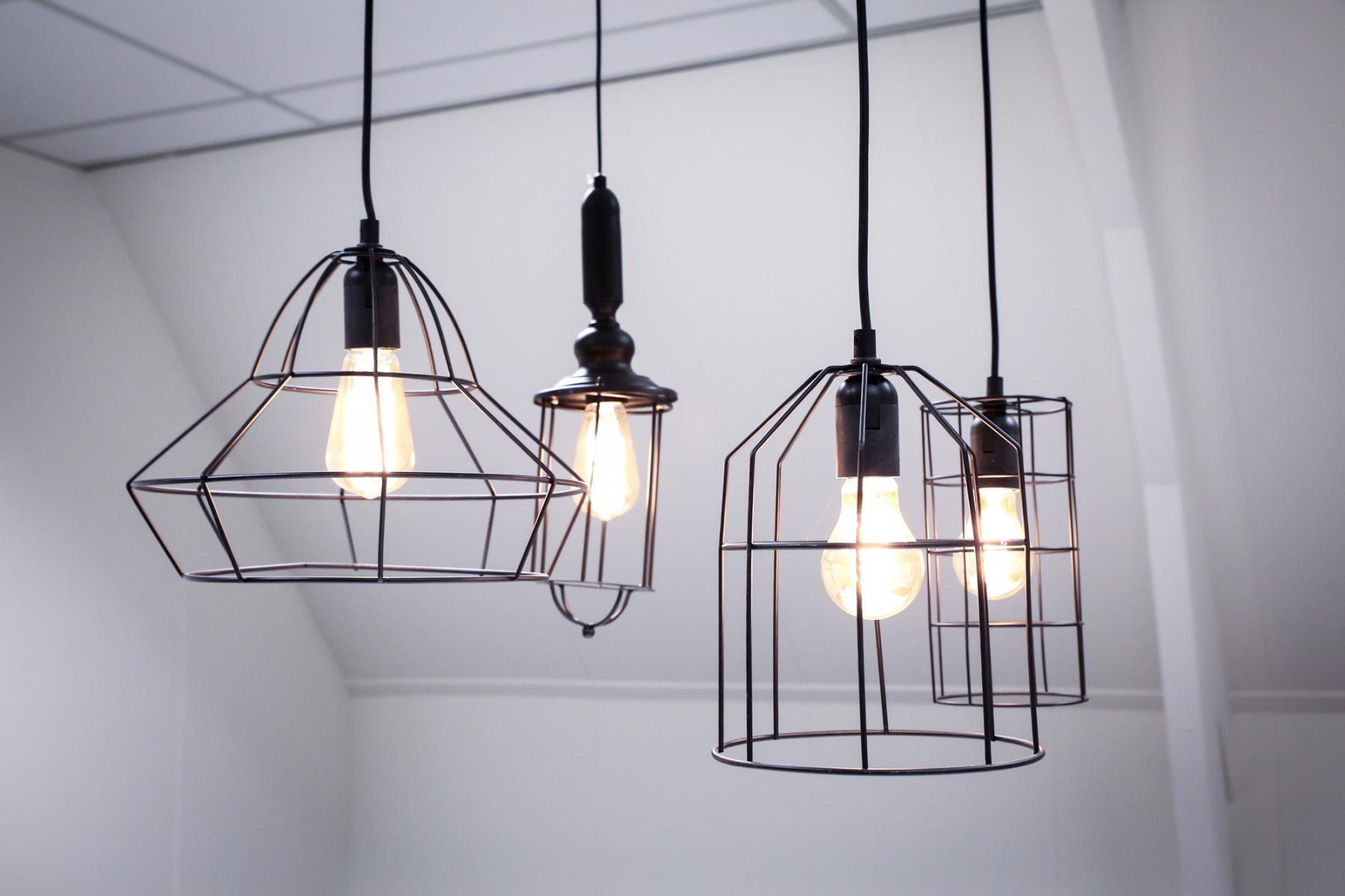 lights geomatric hanging wall white