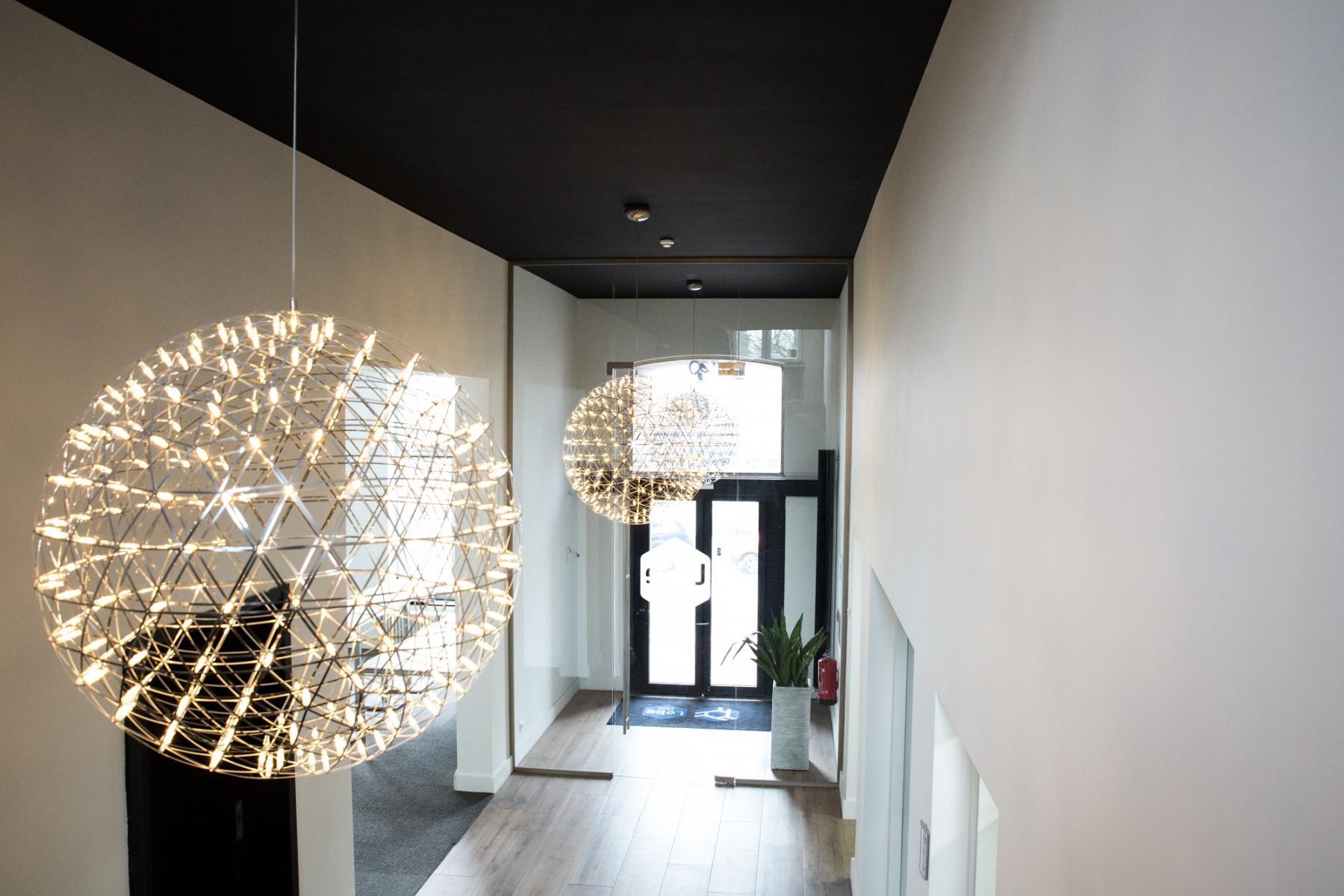 lights hallway nice entrance doors white wall