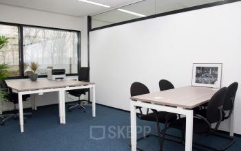 The inside of a furnished office space