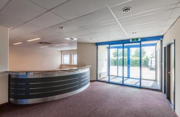 entrance office building reception desk round