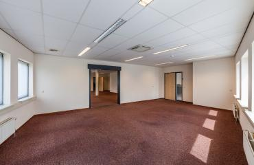office room empty red carpet doors windows